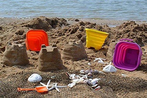 Packable Pails Collapsible Silicone Beach Bucket Pail & Shovel - Steel Handle (Purple)