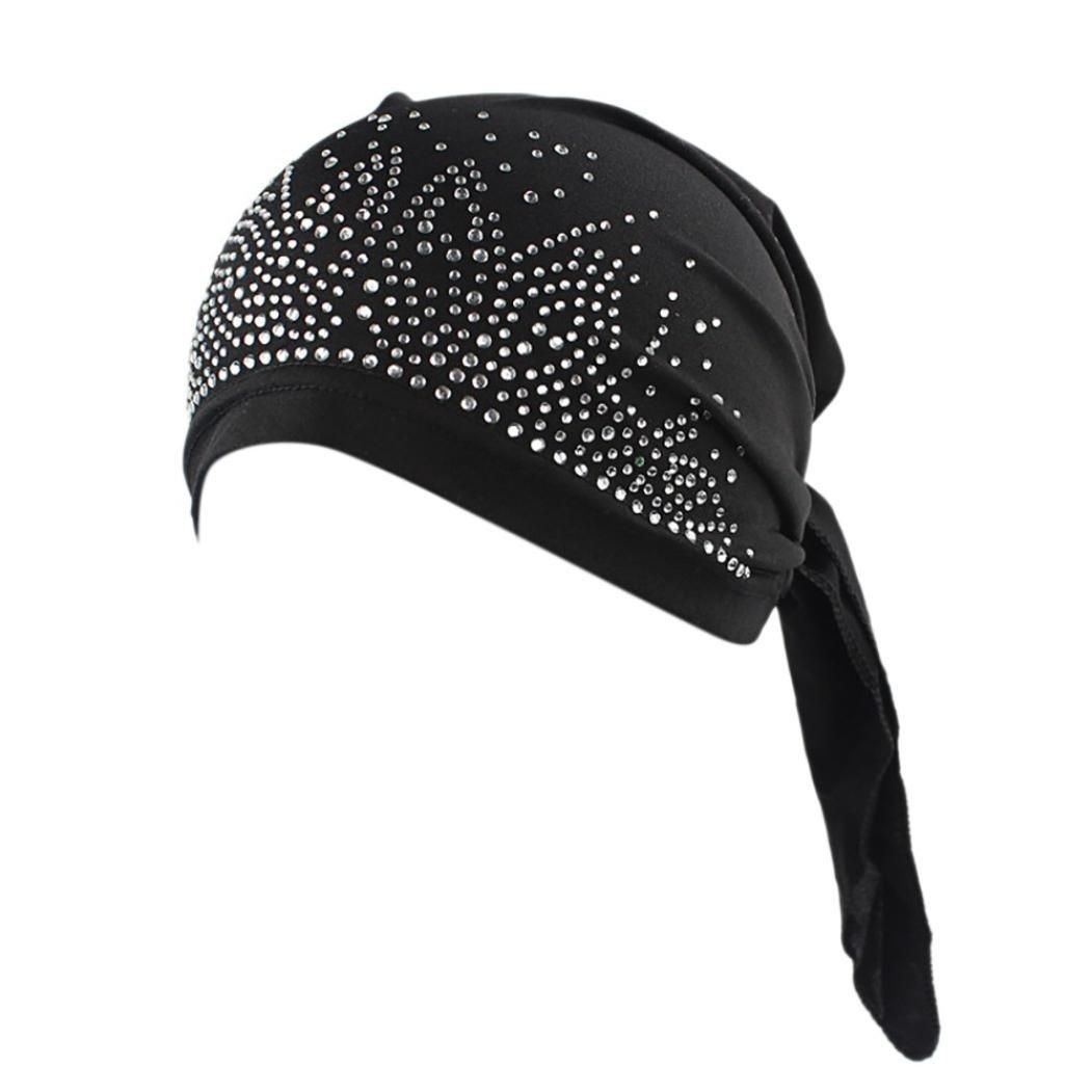 Women India Muslim Stretch Diamond Turban Hat Head Scarf Wrap Cap Laimeng_World (Black)