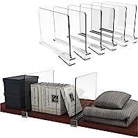 Hrpa Paquete de 6 divisores de estante de acrílico transparente para armario, armarios de madera separador y organizador…