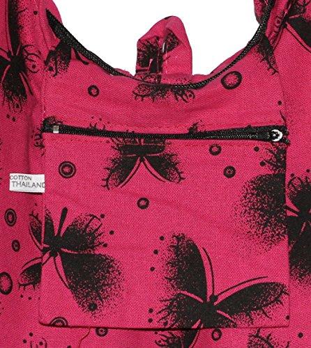 Shoulder Bohemian Butterfly Hippie Bag Hobo Hipster Boho Crossbody Pinkblack fxYq4wx