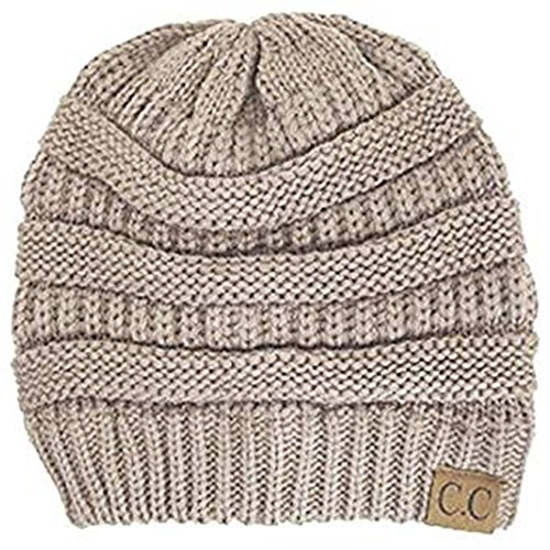 Shadana's Collection Trendy Warm Oversized Chunky Soft Oversized Cable Knit Slouchy Beanie (Beige)