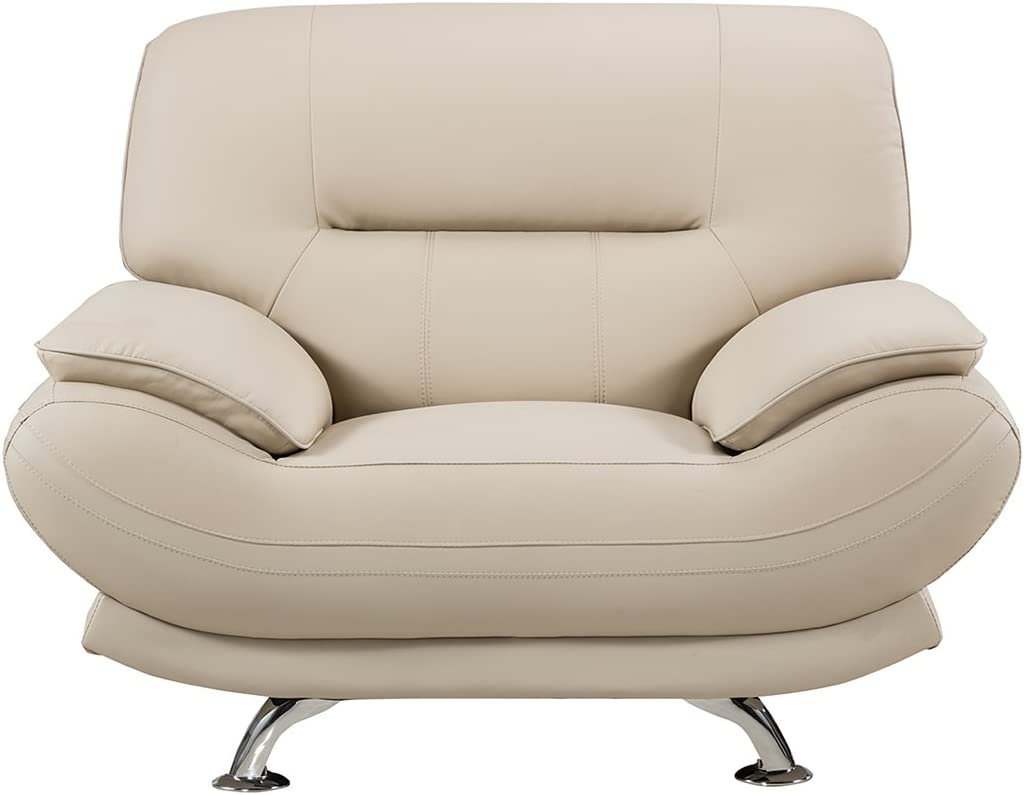 American Eagle Furniture Mason Collection Upholstered Bonded Leather Armchair with Added Base Support and Pillow Top Armrests Bone