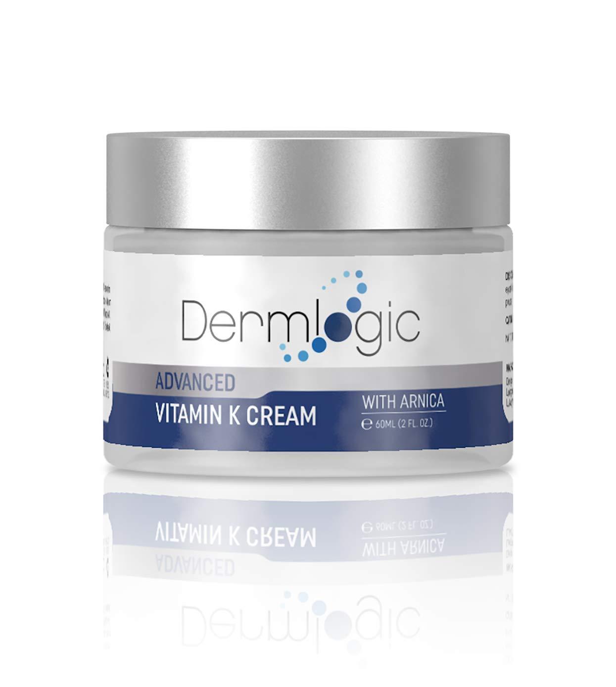 Vitamin K Cream- Moisturizing Bruise Healing Formula. Dark Spot Corrector for Bruising, Spider Veins & Broken Capillaries. Reduces Under Eye Dark Circles, Fine Lines, Puffiness, Wrinkles with Arnica by Dermlogic