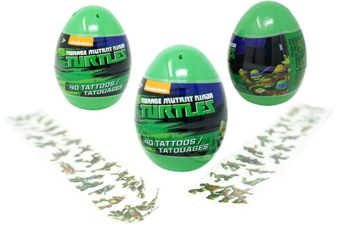 Teenage Mutant Ninja Turtles Eggs with Temporary Tattoos (3 Pack) - 40 Tattoos Each, 4.5 Inches Tall Easter Party Favors by PaperMagicGroup (Image #1)