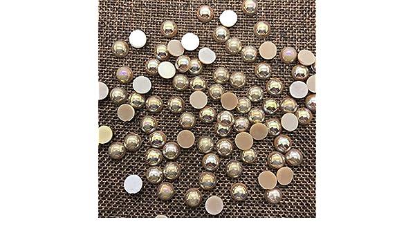 NEW 8mm 100PCS Brown Half Round Bead Flat Back Pearl Scrapbooking Embellishment