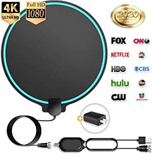 [Updated 2020] HD Digital TV Antenna Long Range 150 Miles Indoor Amplified Signal Booster Support 4K 1080P UHF VHF FM Local Free Channels with Coax Cable and USB Power Adapter, Round Shape