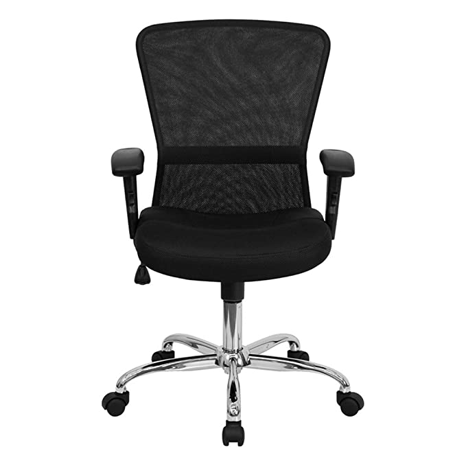 Amazon.com: GO-5307B-GG respaldo medio Negro Mesh Chair ...
