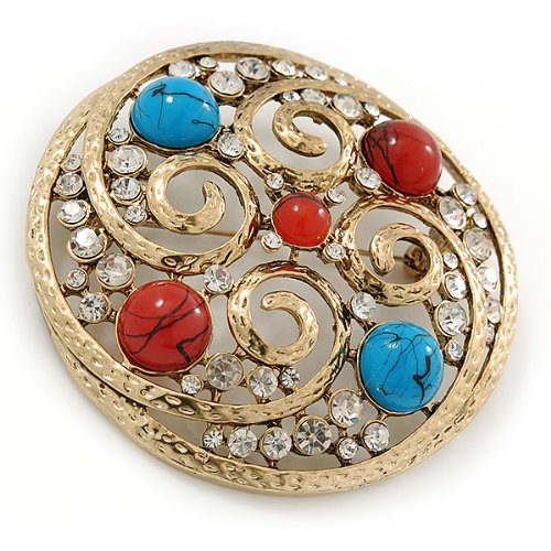 - 67mm Diameter Crystal Brooch Avalaya Large Vintage Round Turquoise Stone Gold Tone