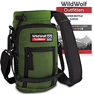 Water Bottle Holder for 32oz Bottles by Wild Wolf Outfitters - Green - Carry, Protect and Insulate Your Best Flask with This Military Grade Carrier w/ 2 Pockets & an Adjustable Padded Shoulder Strap