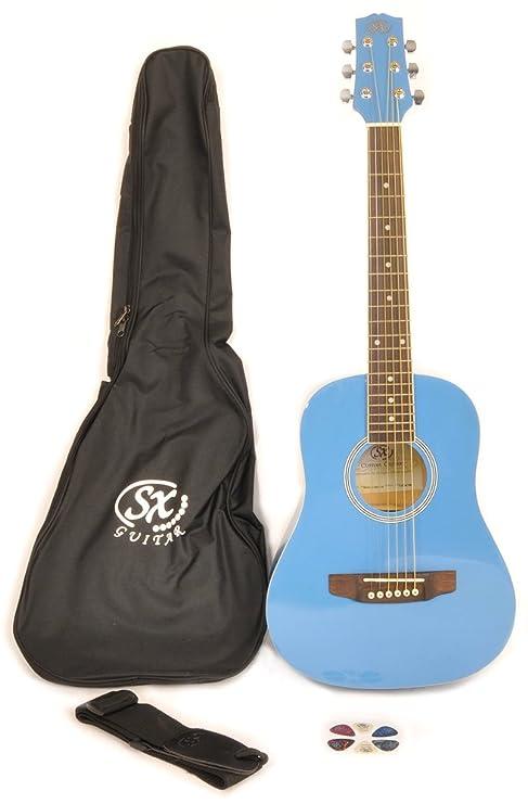 SX RSM 1 12 BBU LH zurdos Bubblegum azul de guitarra acústica ...