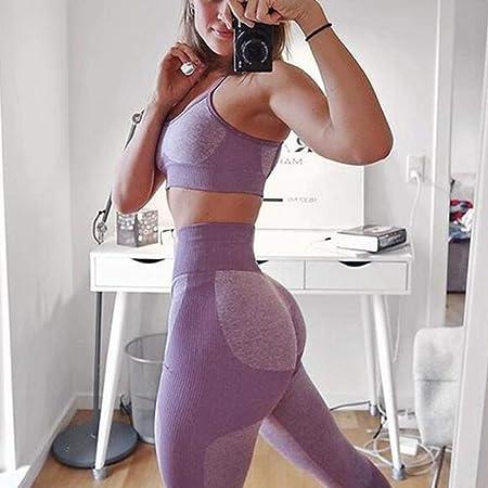 Dongwall 2PCS Conjunto de Yoga de Punto sin Costuras para ...