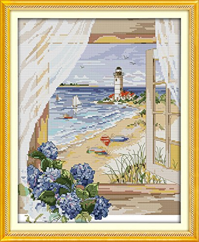 Cross Stitch Stamped Kit Quilt Pre-Printed Cross-Stitching Patterns for Beginner Kids & Adults- Embroidery Needlepoint Starter Kits,Sea View Outside The Window