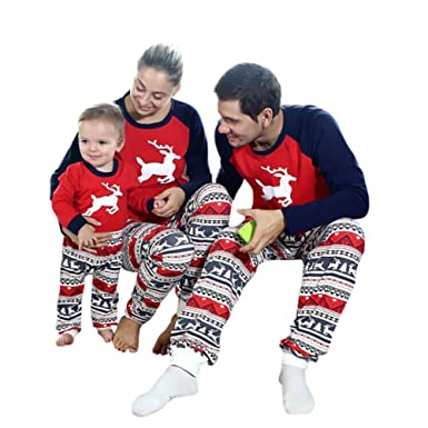 daxin christmas family pajamas set kids mom dad deer matching outfits clothes mom us xs - Family Pajamas Christmas