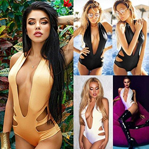 Ouneed Las mujeres de una sola pieza acolchado bikini traje de baño back-up mono Caqui