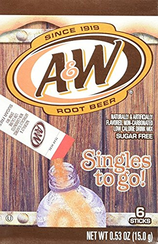 A&W Singles To Go Powder Packets - Sugar Free, Non-Carbonated Root Beer Water Drink Mix (12 Boxes with 6 Packets Each - 72 Total Servings) (Best Root Beer Ever)