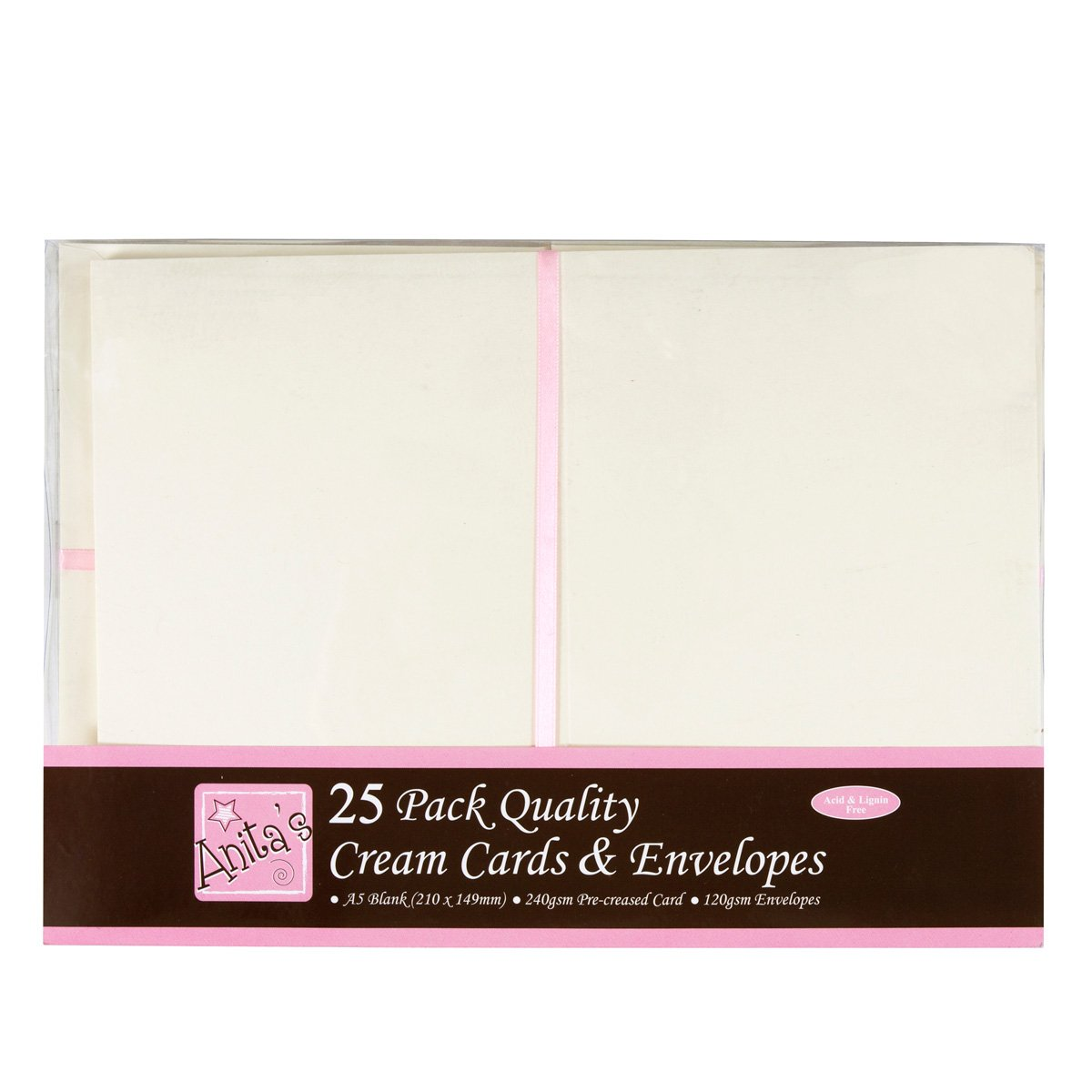 Anita's A5 Card and Envelope, Pack of 25, Cream Docrafts A1514021