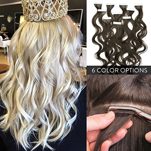 100% Remy Premium Wavy Tape In Human Hair Extensions 22