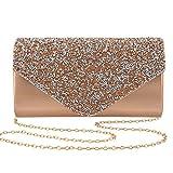 Gabrine Womens Evening Bag Handbag Clutch Purse Rhinestone-Studded Flap for Wedding Party Prom(Champagne)