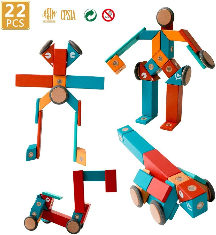 22 Pieces Magnetic Wooden Blocks STEM Magnetic Robot Car Set for 3 4 5 Year Old Age Girls Boys Creativity Magnet Block Toys