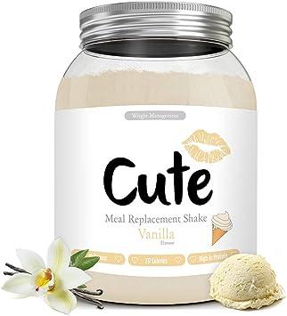 Cute Nutrition Batido Sustitutivo de Comida Sabor Vainilla para el Control de la Pérdida de Peso en Polvo Bebida Dietética Para Mujer Bote de 500g