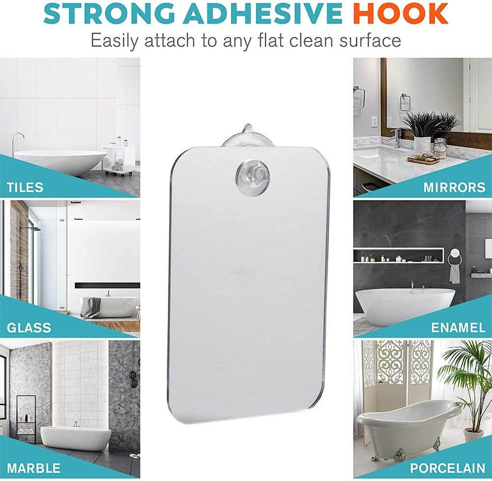 KiMiLIKE Fog-Free Travel Mirror for Shaving Fogless Bathroom Mirror Shower Mirror Fogless Shave Mirror with Removable Wall Suction