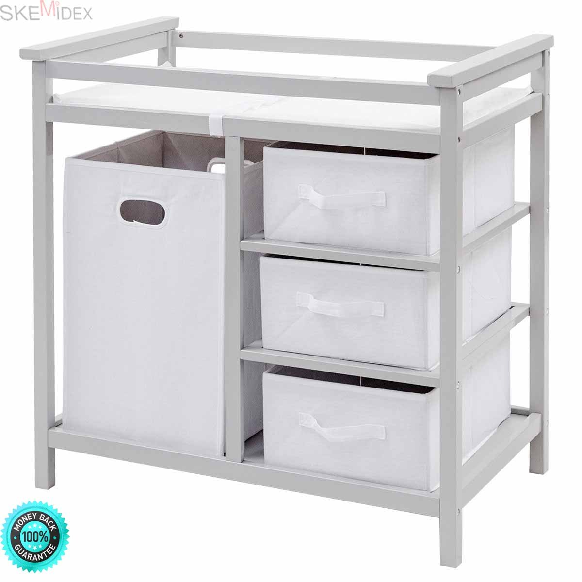 SKEMiDEX---Gray Infant Baby Changing Table w/3 Basket Hamper Diaper Storage Nursery New This Baby Changing Table keeps everything tidy and concealed for a clean look in the nursery