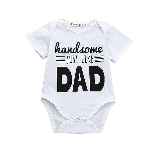 39f0d4518ad3 Amazon.com  Sunhusing Newborn Infant Kids Letter Print Short Sleeve ...