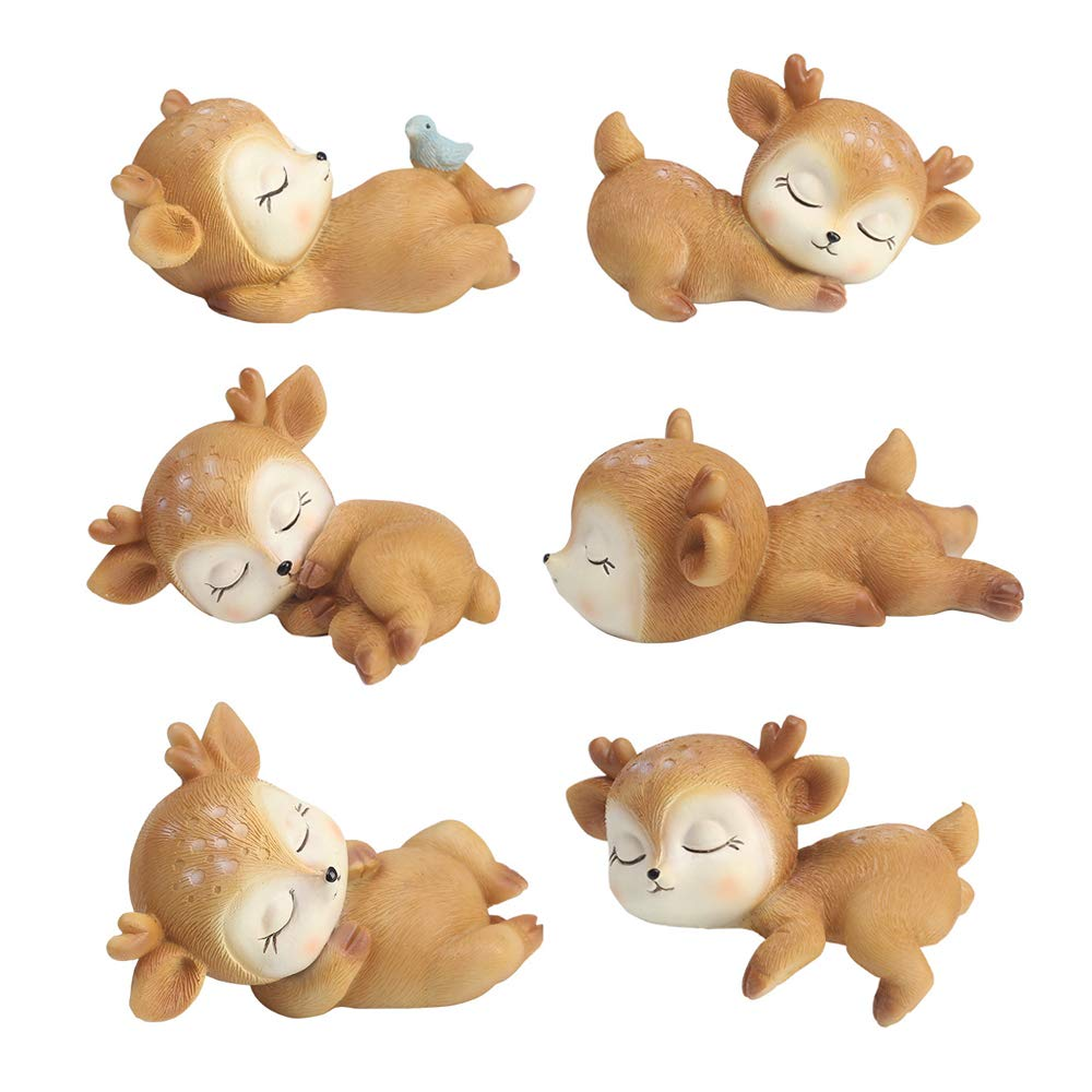 6 Pack Deer Figurines Cake Topper, Woodland Animal Doe Fawn Desktop Decoration Cute Miniature Statue Party Ornaments for Baby Shower Birthday Anniversary by L.DONG