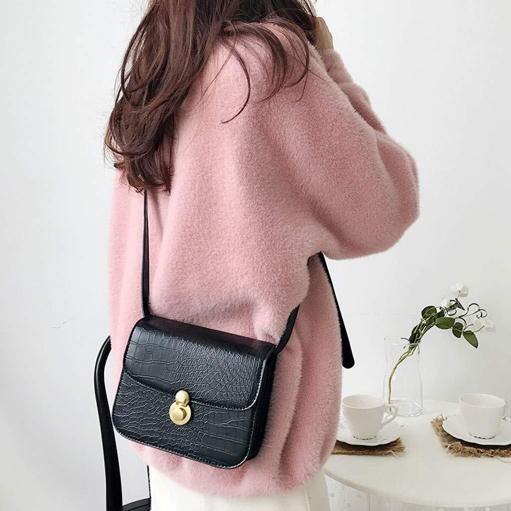 Color : Black KnitsShop Small Bag Female Spring on The New Crocodile Pattern Shoulder Small Square Bag Korea i Wild Messenger Bag Tide