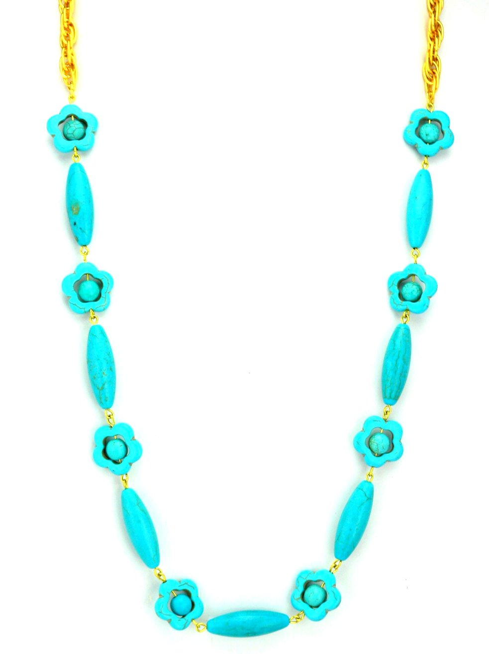 Turquoise Dyed Howlite Hand Linked Necklace Adjustable Gift Boxed by Artist Gay Isber USA