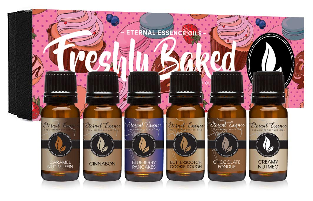 Freshly Baked - Gift Set of 6 Premium Fragrance Oils - Blueberry Pancakes, Caramel Nut Muffin, Butterscotch Cookie Dough, Cinnabon, Chocolate Fondue, Creamy Nutmeg - Eternal Essence Oils