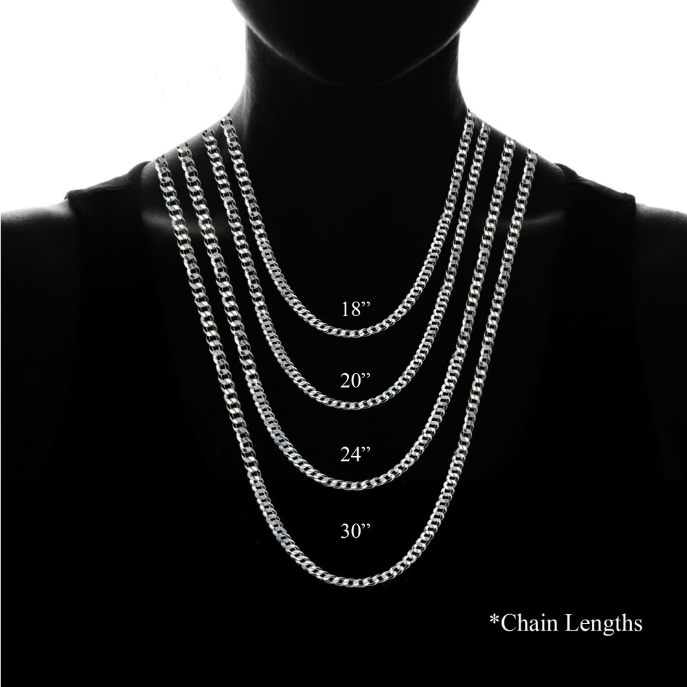 Sterling Silver Italian 4mm Diamond-Cut Cuban Curb Link Chain Necklace, 20 Inches by Hoops & Loops (Image #4)