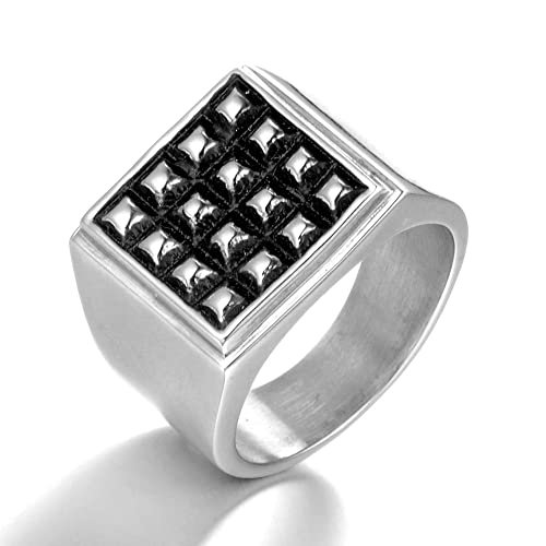 Amazon.com: MCSAYS - Anillo cuadrado de acero inoxidable ...
