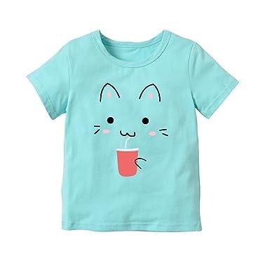 Ropa Bebe Niño Verano, Zolimx Bebé Recién Nacido Niña Dibujos Animados Gato Impresión Tops Blusa Raya Camiseta Traje de Ropa: Amazon.es: Ropa y accesorios