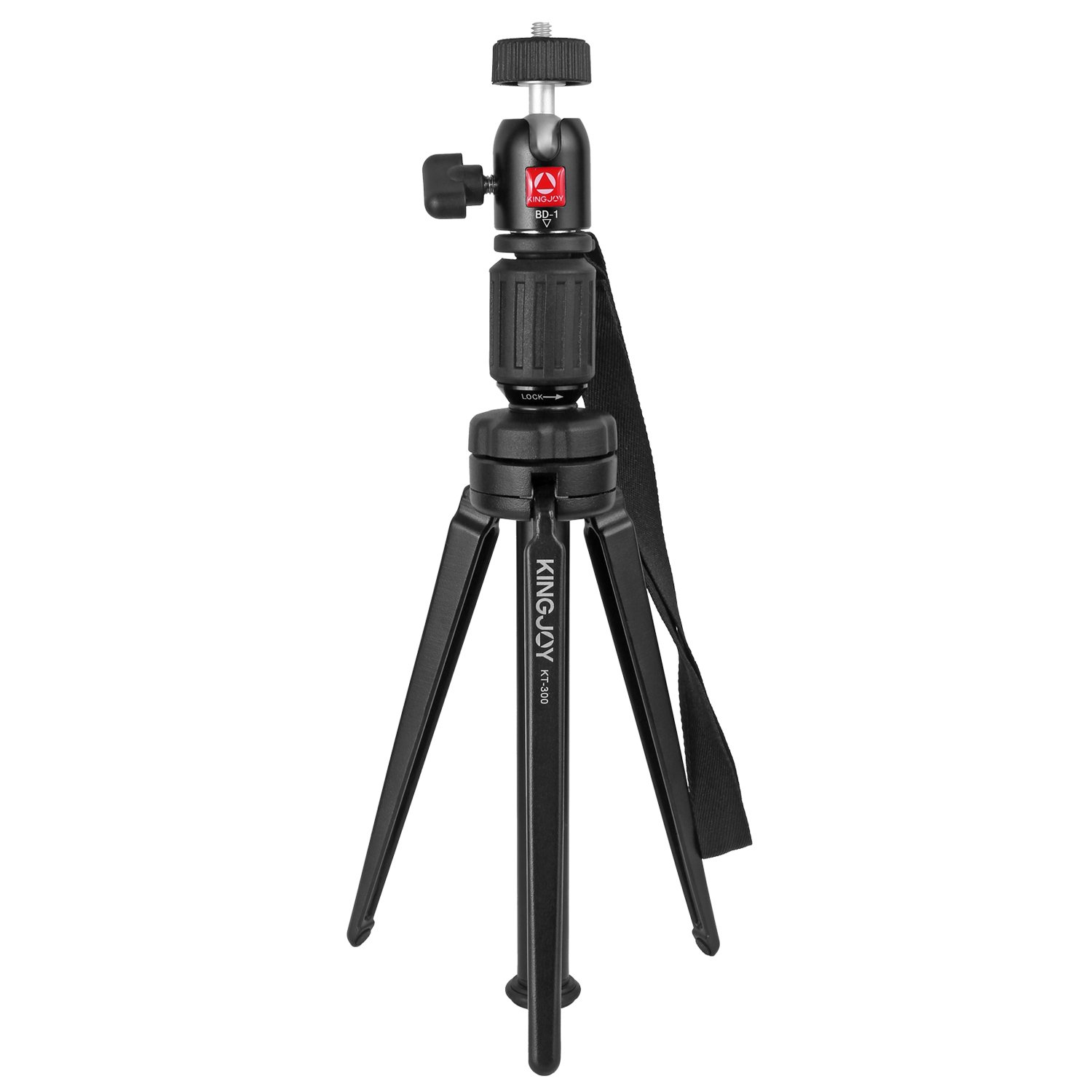 KINGJOY Portable Aluminum Alloy Mini Video Tabletop Tripod with Swivel Ball Head for GoPro Hero 4/3+/3, Smartphones, and Most DSLR Cameras with 1/4'' Thread