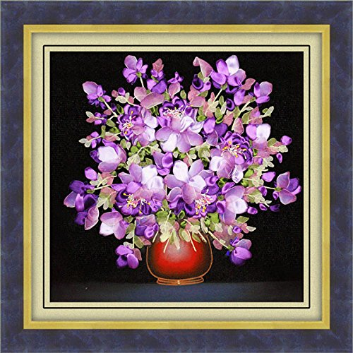 ChenXi Shop 50x50cm 3D Silk Ribbon Purple Flower Cross Stitch Kit...
