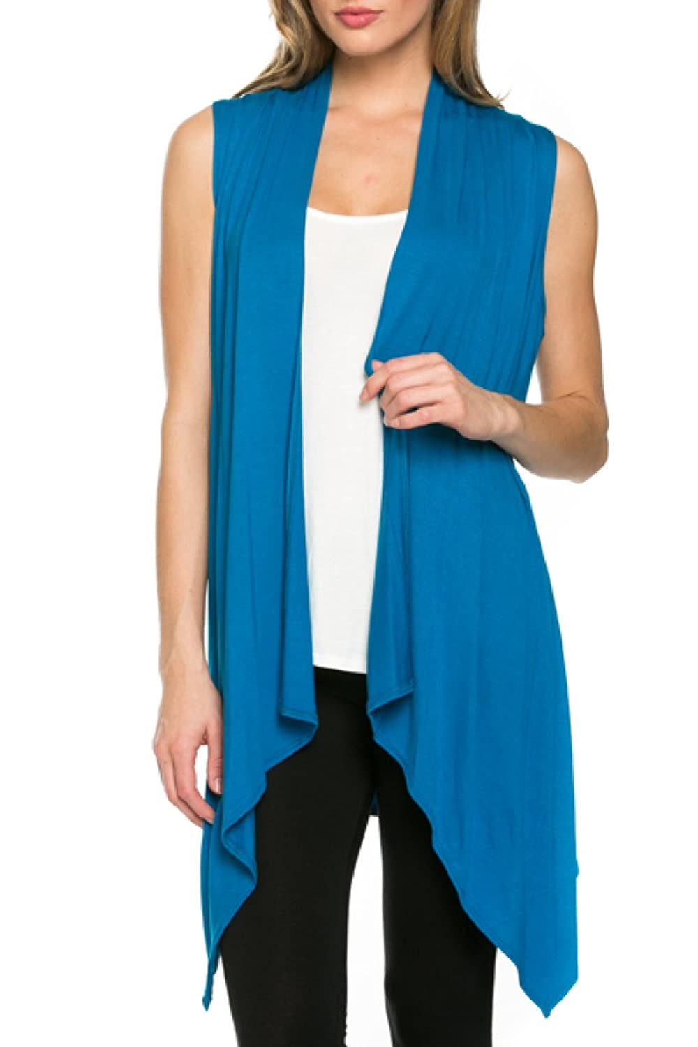 2LUV Womens Draped Open Front Jersey Knit Vest