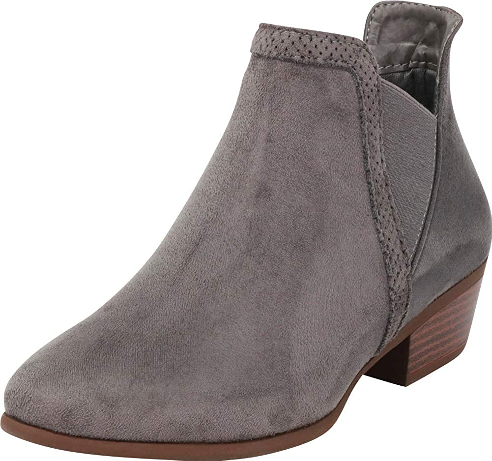 Charcoal Imsu Cambridge Select Women's V Cutout Chelsea Stretch Chunky Stacked Low Heel Ankle Bootie