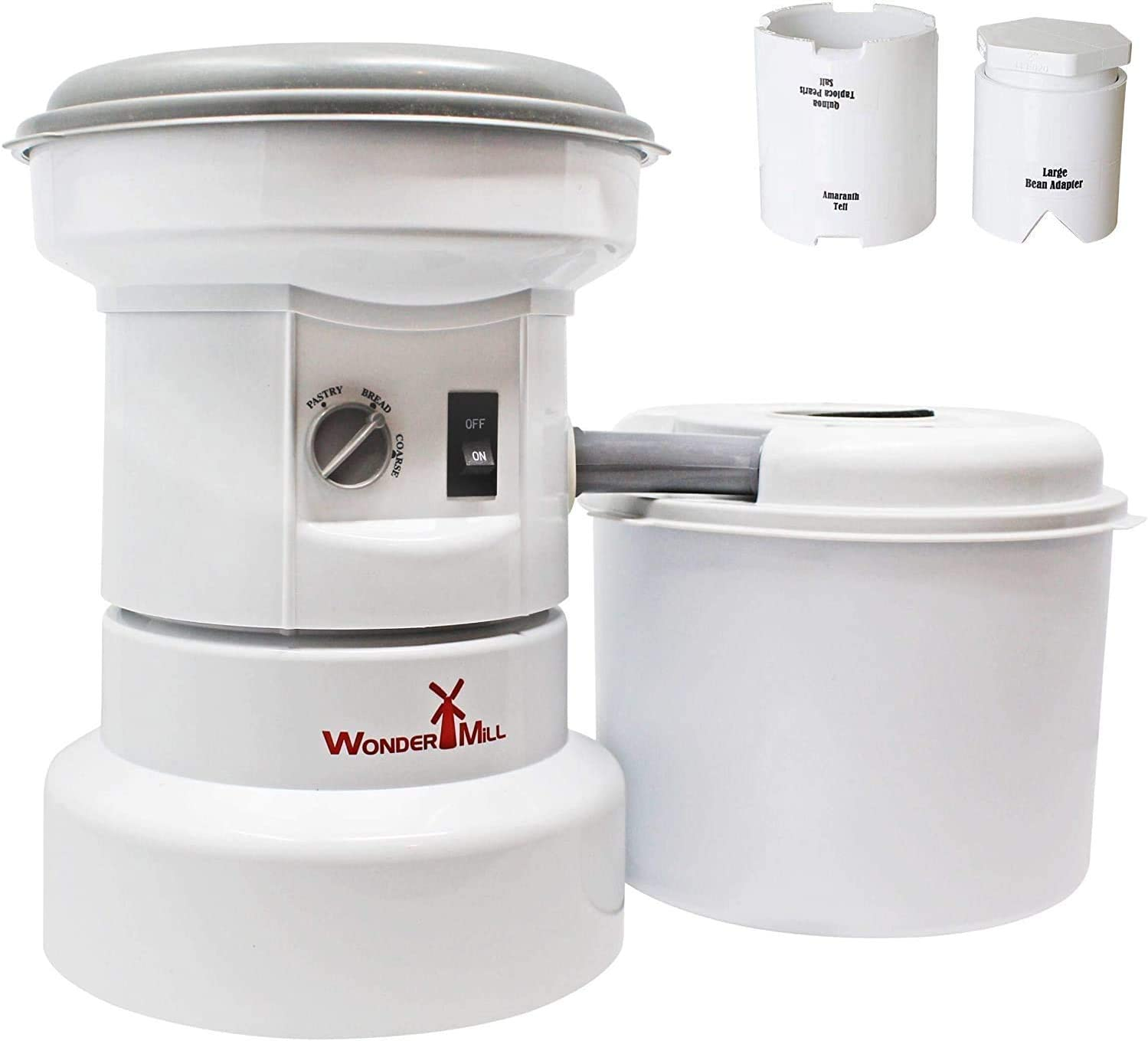 WONDERMILL - Bundle - Powerful Electric Grain Mill Grinder for Healthy Grains and Gluten-Free Flours with Small Grains and Bean Attachments Combo
