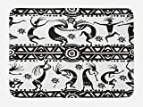 Lunarable Tribal Bath Mat, Ethnic African Aztec Dance with Geometrical Borders Triangles Round Swirls Art, Plush Bathroom Decor Mat with Non Slip Backing, 29.5 W X 17.5 W Inches, Black and White