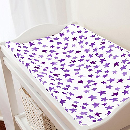 Carousel Designs Purple Watercolor Stars Changing Pad Cover - Organic 100% Cotton Change Pad Cover - Made in the USA (Purple Carousel)