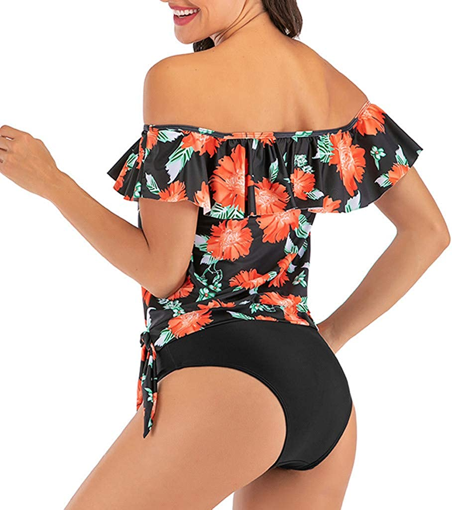 Dunacifa Women Tankini Sets with Boy Shorts Halter Bikini Paisley Swimwear Push-Up Padded Bra Swimsuit Beachwear