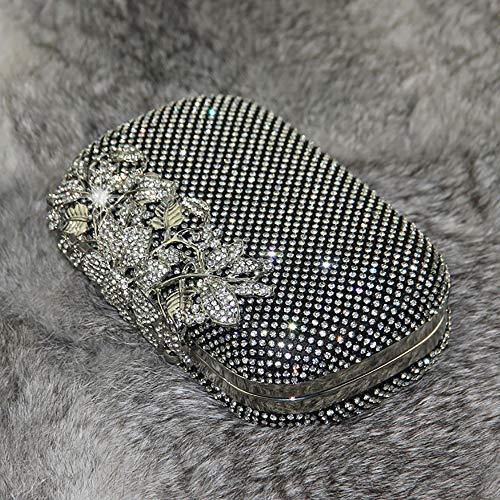 Luxury Handbag Rhinestone Womens Purse Black Clutch Flower Evening OzxzR6qf