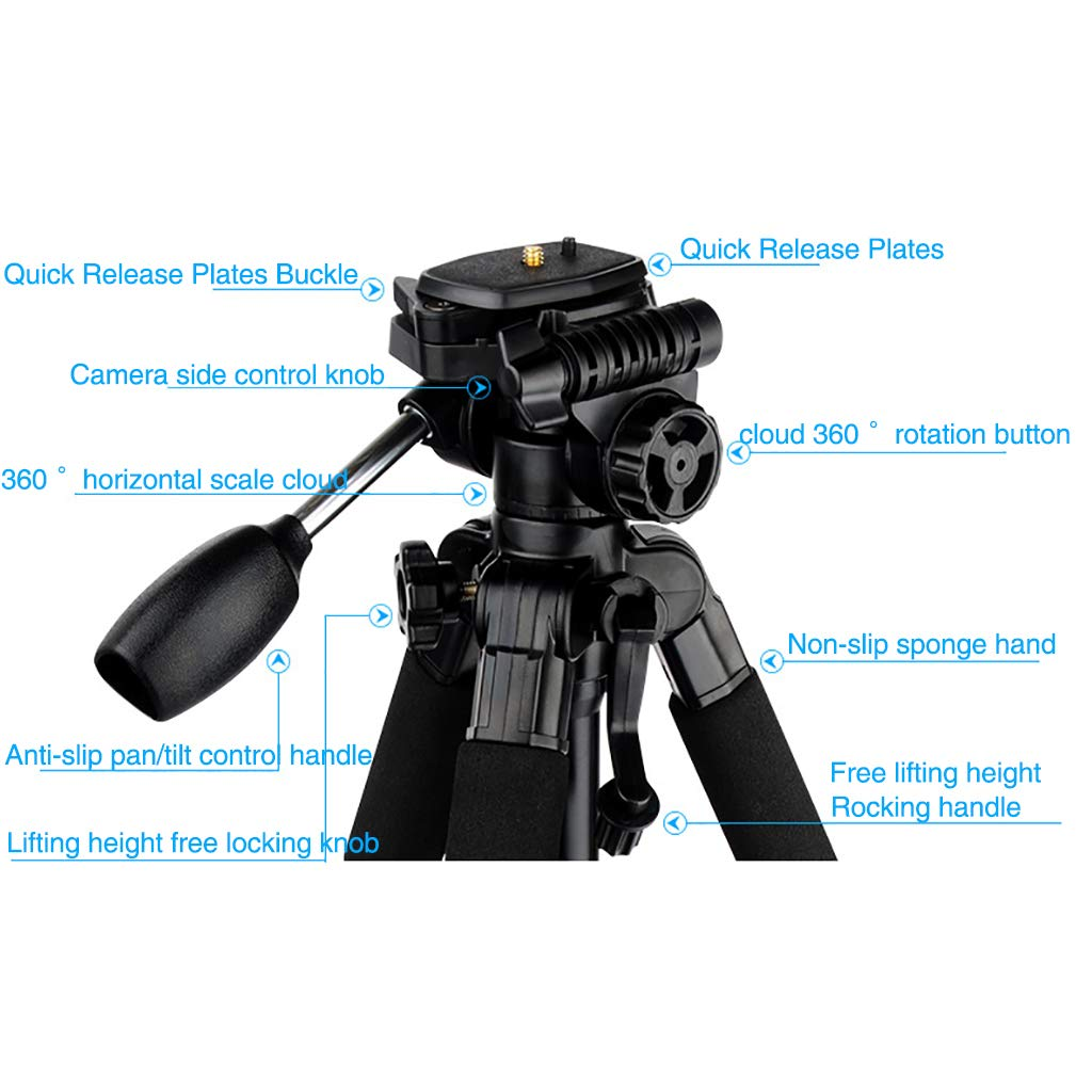 XIXI Lightweight Travel Tripod,Detachable Monopods 360 Degree Ball Head Quick Release Plates 1 4in Mounting Compatible DSLR SLR Photography Photo with Carry Bag