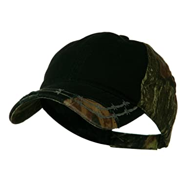 e40f75fd7f0 Camo 6 Panel Heavy Washed Cotton Twill Cap - Black OSFM at Amazon ...