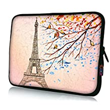"ICOLOR Neoprene Laptop Case Waterproof Sleeve Bag Pouch for 13"" 13.3"" Pro/HP/Acer/Dell/Asus/Samsung Notebook Eiffel Tower"