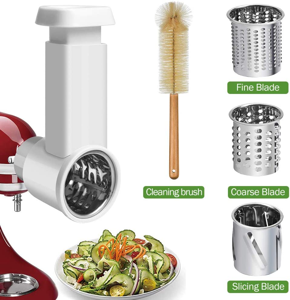 GEEKHOM Mixer Attachments for KitchenAid, Slicer Shredder Attachment for KitchenAid Stand Mixer, Vegetable Chopper Cheese Grater Salad Maker Accessories