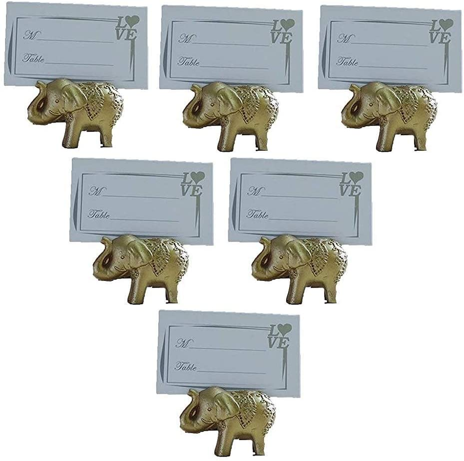 Ruijanjy 6 Pack Wedding Place Resin Golden Elephant Card Holders Table Number Stands with Paper Card for Wedding Party