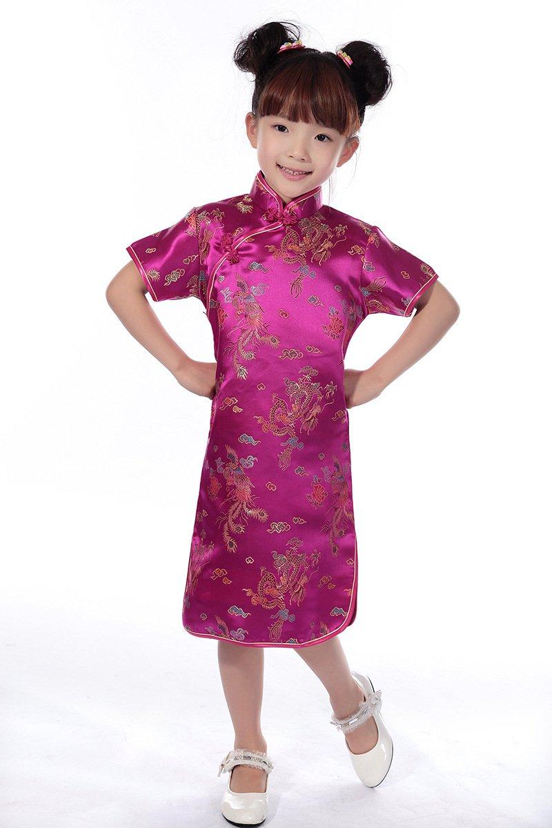 AvaCostume Girls Chinese Dragon Phoenix Qipao Cheongsam Dress, 4, Rose Red