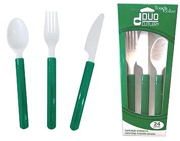 TOUCH OF color Premium Duo de plástico de colores - Cubertería (, verde esmeralda: Amazon.es: Hogar